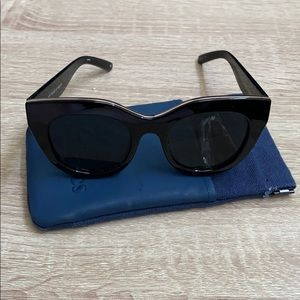 Le Specs Air Heart Sunglasses in Black